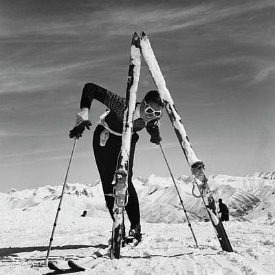 Winter Photograph - Marian Mckean With Skis by Toni Frissell