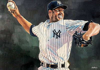Gehrig Painting - Mariano Rivera - New York Yankees by Michael  Pattison