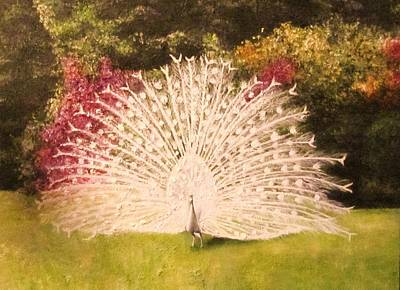 Painting - Maria's White Peacock by Dalgis Edelson