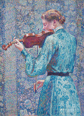 Fiddler Painting - Marie Anne Weber Playing The Violin  by Theo van Rysselberghe
