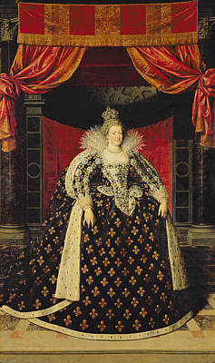 Lace Photograph - Marie De Medici 1573-1642 In Coronation Robes, C.1610 Oil On Canvas by Frans II Pourbus