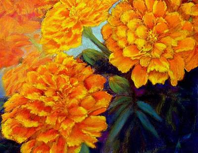 Art Print featuring the pastel Marigolds In Bloom Pastel  Sold by Antonia Citrino