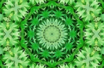 Weed Digital Art - Marijuana Kaleidoscope Poster by Dan Sproul
