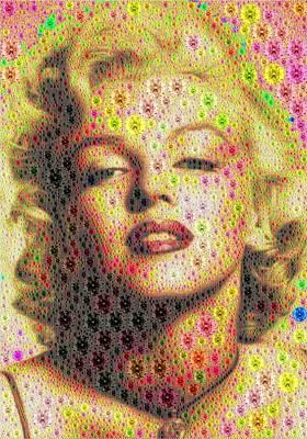 Digital Art - Marilyn - Colored Diamonds Mosaic by Samuel Majcen