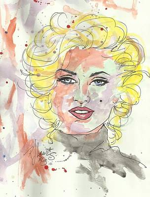 Marilyn Drawing - Marilyn Colors by P J Lewis