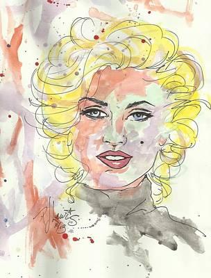 Marilyn Monroe Drawing - Marilyn Colors by P J Lewis
