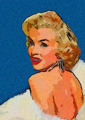 1950 Movies Painting - Marilyn In Fur by John Farr