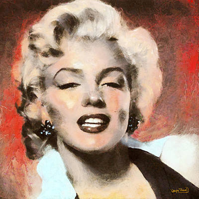 Marilyn In Retro Color Art Print by Wayne Pascall