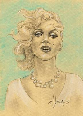 Blonde Bombshell Drawing - Marilyn In White by PJ Lewis