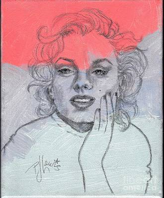 Pencil Drawing Mixed Media - Marilyn Loved Color by P J Lewis