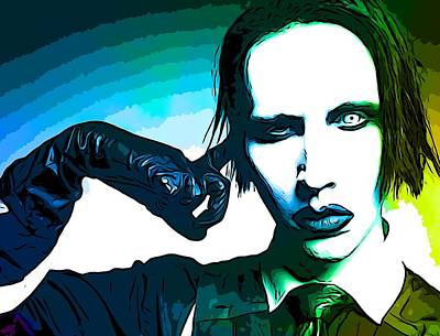 Multimedia Mixed Media - Marilyn Manson Poster by Dan Sproul