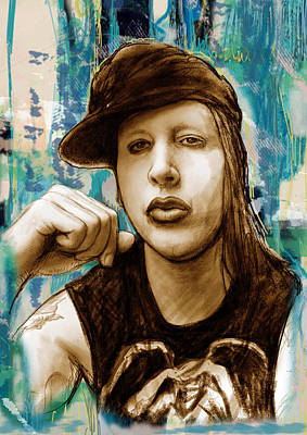 Featured Images Drawing - Marilyn Manson Stylised Pop Art Drawing Potrait Poser Stylised Pop Art Drawing Potrait Poser by Kim Wang