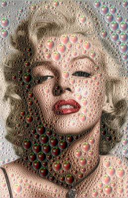 Digital Art - Marilyn Monroe - Apples by Samuel Majcen