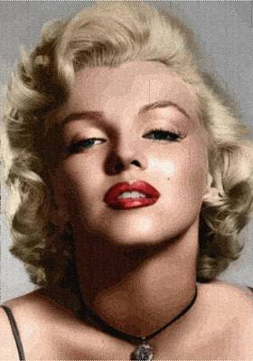 Digital Art - Marilyn Monroe - Knitting by Samuel Majcen