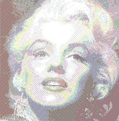 Drawing - Marilyn Monroe 01 - Parallel Hatching by Samuel Majcen