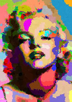Painting - Marilyn Monroe - Abstract by Samuel Majcen
