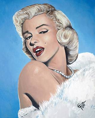 Actors Royalty-Free and Rights-Managed Images - Marilyn Monroe - Blue Backround by Tom Carlton