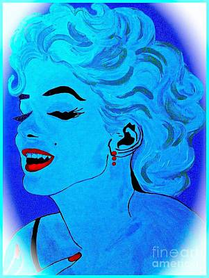 Painting - Marilyn Monroe Blue Cameo 1 by Saundra Myles