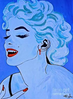 Painting - Marilyn Monroe  Blue Pop 2 Xl by Saundra Myles