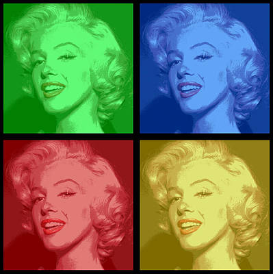 Marilyn Monroe Colored Frame Pop Art Art Print by Daniel Hagerman