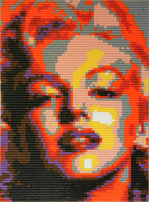 Mosaic Mixed Media - Marilyn Monroe - Hama Pearls by Samuel Majcen
