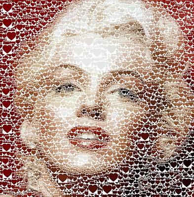 Painting - Marilyn Monroe - Hearts by Samuel Majcen