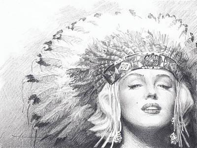Drawing - Marilyn Monroe In Headdress Pencil Portrait by Mike Theuer