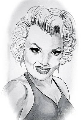 Portrait Drawing - Marilyn Monroe  Ink Wash by Linda Simon