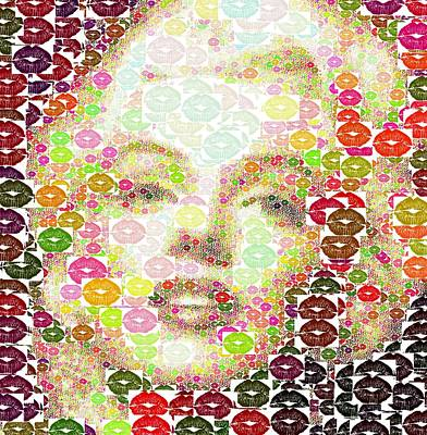 Painting - Marilyn Monroe - Lips Collage by Samuel Majcen