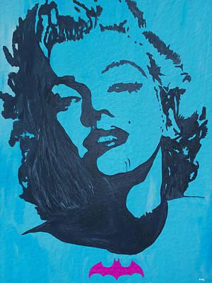Painting - Marilyn Monroe Loves Batman by Robert Margetts
