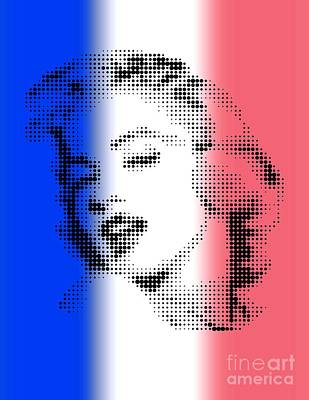 U.s.a Mixed Media - Marilyn Monroe On Flag Of France by Rodolfo Vicente