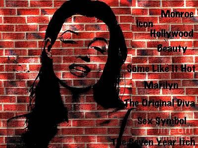 Digital Art - Marilyn Monroe On The Wall by Saundra Myles