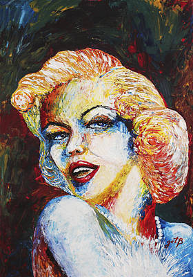 Keith Richards - Marilyn Monroe original palette knife painting by Georgeta Blanaru