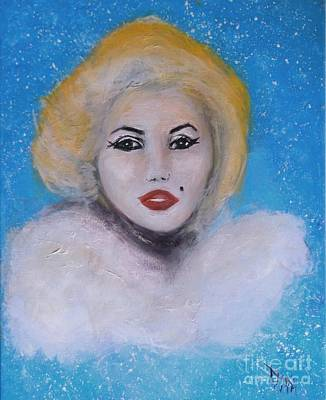 Art Print featuring the painting Marilyn Monroe Out Of The Blue Into The White by Donna Dixon