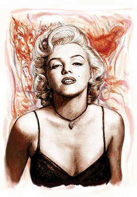 Marilyn Monroe Pop Art Drawing Sketch Portrait Art Print by Kim Wang