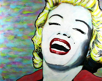 Painting - Marilyn Monroe Portrait Bright Laugh by Bob Baker