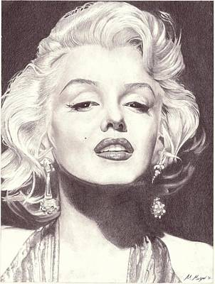 Gradient Drawing - Marilyn Monroe Portrait Drawing by Matt Meyer