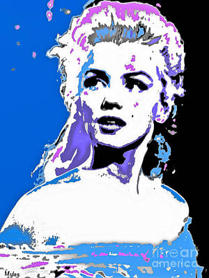 Painting - Marilyn Monroe So Beautiful In Blue by Saundra Myles