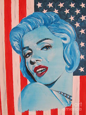 Flagg Painting - Marilyn Monroe Stars And Stripes by Jeepee Aero