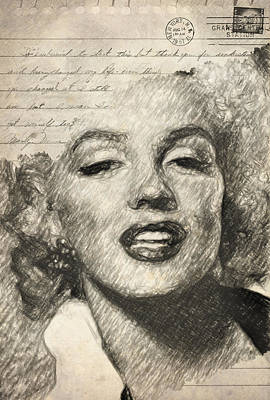 Stamps Drawing - Marilyn Monroe by Taylan Apukovska