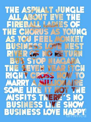 Marilyn Monroe - The Movies Art Print