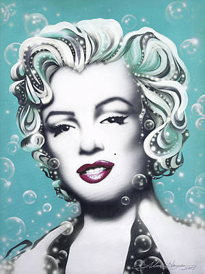 Marilyn Monroe Turquoise Art Print by Alicia Hayes