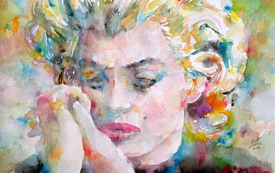Sadness Painting - Marilyn Monroe Watercolor Portrait by Fabrizio Cassetta