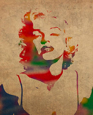 Actors Wall Art - Mixed Media - Marilyn Monroe Watercolor Portrait On Worn Distressed Canvas by Design Turnpike