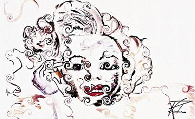 Marilyn Monroe With Diamonds Are A Girls Best Friend 2 Print by Ayasha Loya