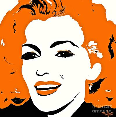 Painting - Marilyn Pop Art Orange And Black by Saundra Myles