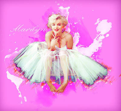 Mixed Media - Marilyn Pretty In Pink by Andre Voss