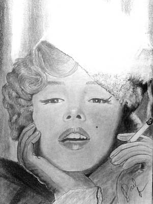 James Monroe Drawing - Marilyn Smoke by Doil Ivey