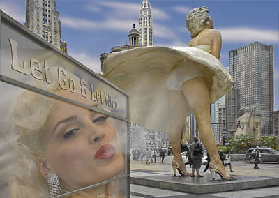 Marilyn Statue On Michigan Ave. Art Print by Gary Warnimont