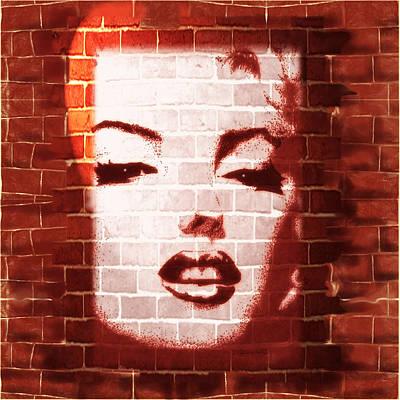 Famous People Mixed Media - Marilyn Street Art On Brick Wall by BluedarkArt Lem